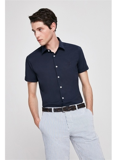 TWN Twn Slim Fit Beyaz Düz Stretch Gömlek Lacivert